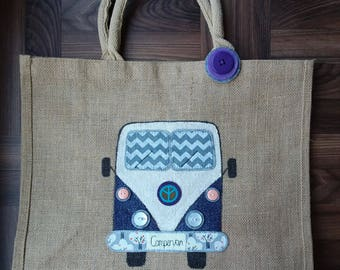 Hand painted Camper van Large Shopper Bag