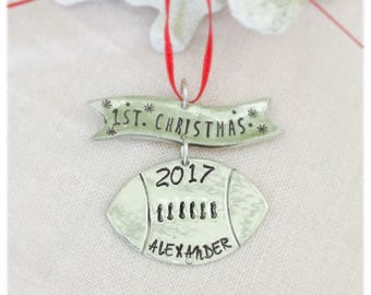 Personalized First Christmas Football Ornament, Football Team Ornaments