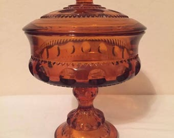Amber Kings Crown Thumbprint Compote w/ Lid