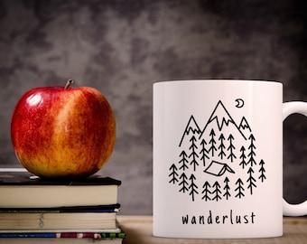 Wanderlust Coffee Mug | Gift for Coffee Lover | Unique Coffee Mug | Quote Mug | Coffee Mugs with Sayings | Travel Coffee Mug | 11 oz Mug