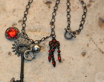 ON SALE~Steampunk Black And Red Chain and Charm Necklace~Key~