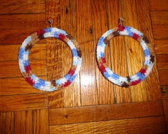 Wheelbarrow, Crochet Hoop Earrings