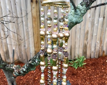 Repurposed Jewelry Mini Mobile, Crystal Gold Bead Mobile, Upcycled Wind Chime, Garden Art, Sun Catcher, Boho Home Window Decor, Gift for Mom