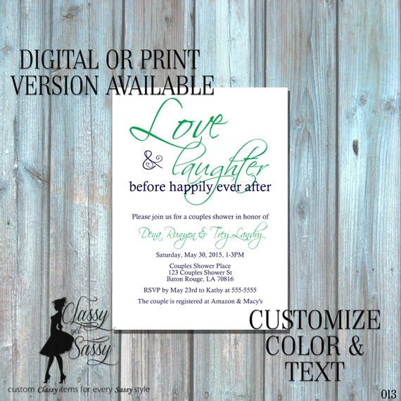 Love and Laughter Before Happily Ever After Invitation, Rehearsal Dinner Invitation, Couples Shower Invitation 013