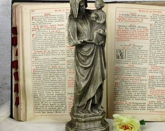 """Statue Our Lady Madonna Virgin Mary Infant Jesus Plaster Stone Look Gray 14.17"""""""