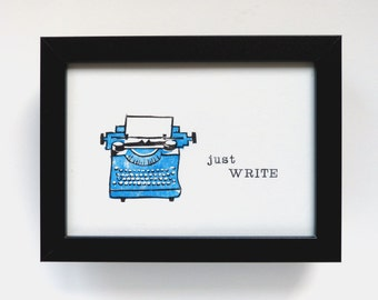 Linocut typewriter, wall decoration motivation, linocut hand printed, gift for bloggers and hobby authors