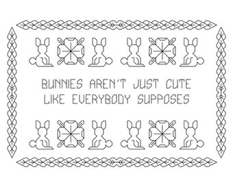 "Buffy ""Once More with Feeling"" ""Bunnies Aren't Just Cute Like Everybody Supposes""  Cross-Stitch Pattern"