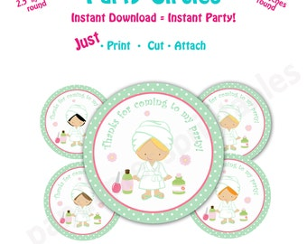 Spa Birthday Party Favor Tags -- Instant Download -  Printable spa Party Circles - Mint