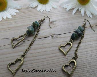 Earrings hanging heart & small rocks