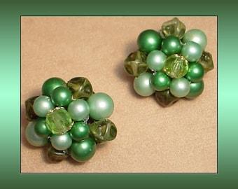 Faux Pearl Cluster Vintage Earrings Made in Japan