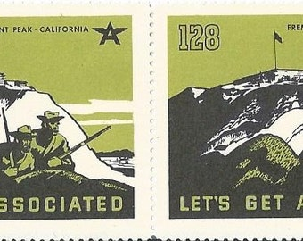 "Tydol Flying ""A""  Gas  ""Lets Get Associated"" Freemont Peak Poster Stamps 1930's"