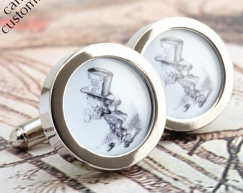 Mad Hatter Cufflinks Alice in Wonderland Accessories for Men, Mad Hatter Gift, Alice Wedding Gift for Groom, Anniversary Gift PC585