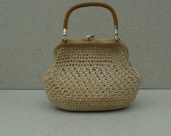 Vintage woven hand bag , hardshell woven handbag,Top Handle woven handbag  1950s-60s.