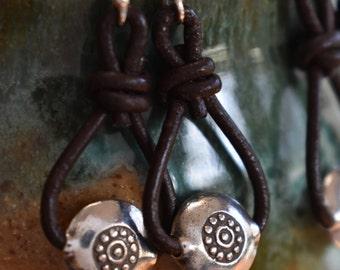 Silver and Leather Hoops, Sundance Style Earrings, Boho Earrings, Silpada Style Earrings, Hilltribe Silver Earrings