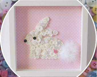 Handmade Bunny Rabbit Button Frame