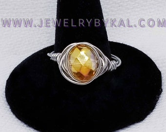 Citrius Orange Crystal and Silver Wire Wrapped Ring - Size 9