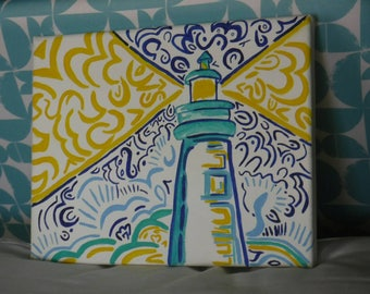 Hand Painted Canvas - Lilly Pulitzer Inspired Lighthouse