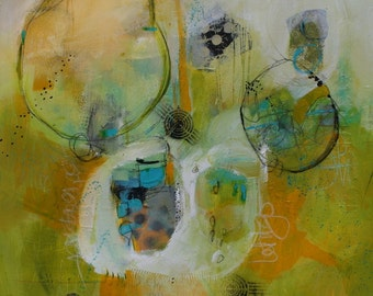 """Geometric Abstract in Contemporary Colors of Yellow White Teal and Black  20 x 24 """"Letting Go""""  by Jodi Ohl"""