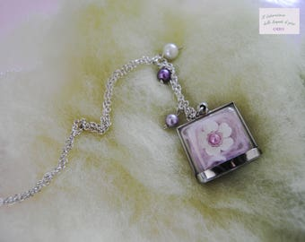 """Cotton candy"" necklace with plexiglass pendant"