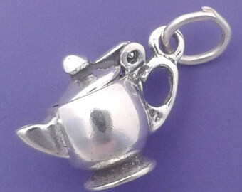 TEA POT Charm .925 Sterling Silver Teapot Movable Pendant - lp1954