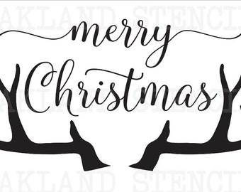 "Christmas/Holiday STENCIL**Merry Christmas w/Antlers** 10""x18"" or 12""x24"" for Painting Signs Airbrush Crafts Wall Art and Decor"