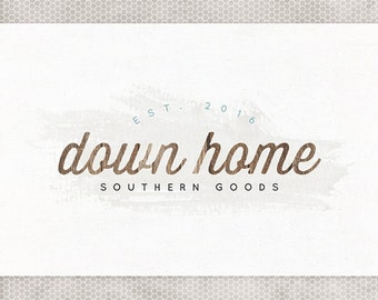 Premade Logo Design | Rustic Wood | Photography Logo | Minimalist Design | Watercolor Logo | Mint and Gray | Blue and Brown | Etsy Banner