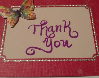 Delicate pink butterfly Thank You greeting card