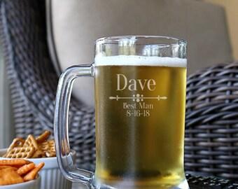 Personalized Beer Mug 16oz, Best Man Beer Mug, Groomsmen Beer Mug, Groomsmen Gifts, Wedding Beer Mugs, Engraved Beer Glass, Gift For Him - C
