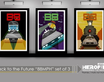 """Back to the Future 1 2 & 3 Inspired """"88 MPH"""" Set of 3 11""""X17"""" Art Prints Prints by Herofied Minimalist DeLorean"""