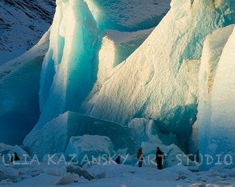 Instant digital download Mendenhall Glacier Alaska landscape fine art photography Snow blue ice printable photography