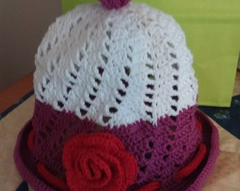 Purple lavender winter hat with ear flaps and ties