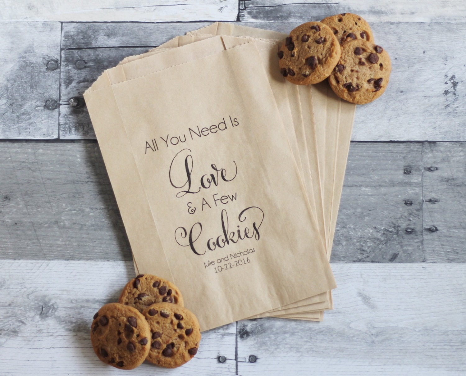 Wedding Cookie Bags All You Need is Love and Cookies Cookie