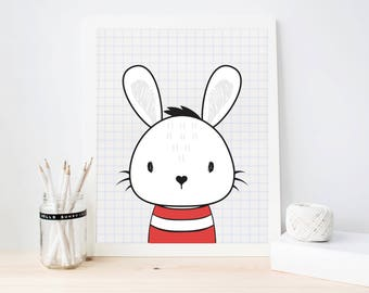Rabbit Art Print, Kids digital Art Print, Modern Nursery decor, Kids room decor printable, Instant download, Rabbit Wall Art (ArtPrint20)