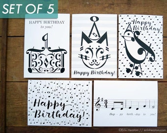 Music Birthday Cards Variety Pack Of 5 Note Musician Card