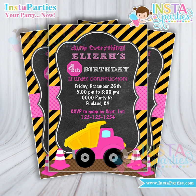 Construction Girl Invitations Pink party supplies trucks Girly