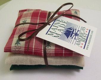Maine Balsam Fir Sachet set of 3 Green Red and Beige Pine Tree Homespun Fabric Ready to Ship