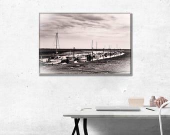 Boats moored on Little Wakering Creek. Sepia Photo Wall Art Print
