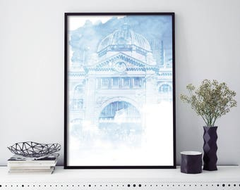 Flinders Street Station, Melbourne  Watercolour Print Wall Art | 4x6 5x7 A4 A3 A2