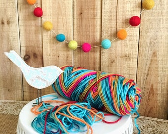 Felt Ball Garland, Nursery Decor, Multi-Color, Felt Pom Pom Garland, Kaleidoscope, Party Garland, Childs Room, Neutral Gender Decor