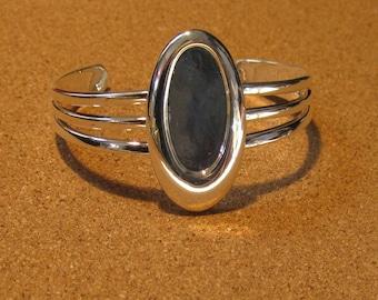 Silver Plated Bracelet Setting - Jewelry Setting - Jewelry Supply - Bangle Bracelet Setting - Settings for Polymer Clay - Cuff Bracelet