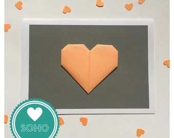 Origami Blank Greetings Card - Heart