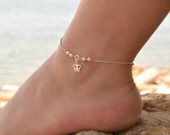Butterfly Anklet Sterling Silver, Anklet, Silver Ankle Bracelet, Anklets for Women, Beaded Anklet, Silver Anklets for Women, Body Jewelry