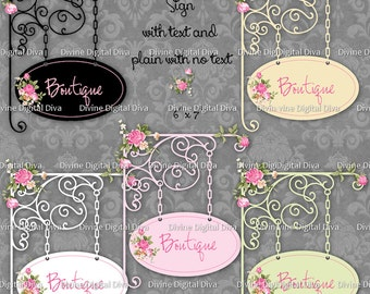Customizable Shabby Roses Digital Boutique Sign | Clipart Transparent PNG Instant Download