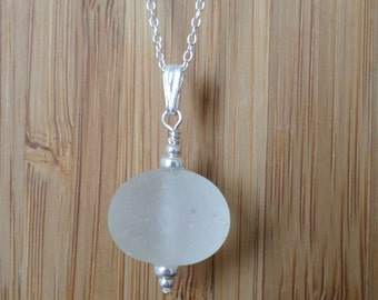 Ice White Sterling Silver Sea Glass Necklace, Pendant, Seaglass Jewellery, Seaglass Jewelry, Beachglass, Seaham, Beach Jewelry, Beach Glass