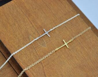 Cross Bracelet, Gold or Silver Sideways Cross Bracelet, Dainty Cross Bracelet, Celebrity Jewelry, baptism gift, confirmation gift