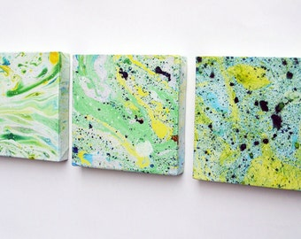 Set of Three Handmade Marbled Canvases 2
