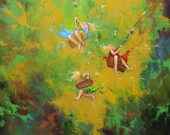 Print Swing 68 20x20 inch Print from oil painting by Roz