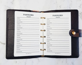 Printed Pocket Password Tracker | Gold Edge Foiled Planner Inserts