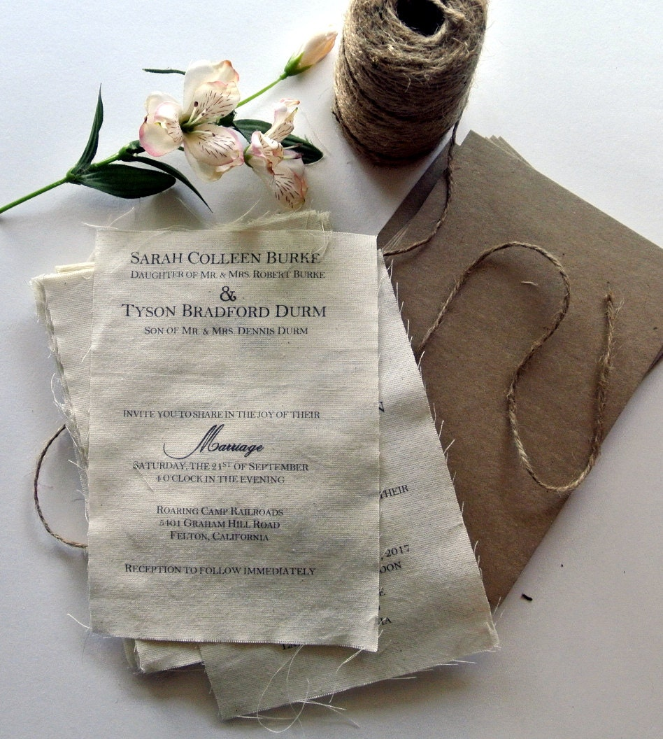 DIY Rustic Wedding Invitation Kit Burlap Fabric Rustic