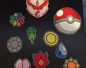 Pokemon gym badge set + pokemon go team badge